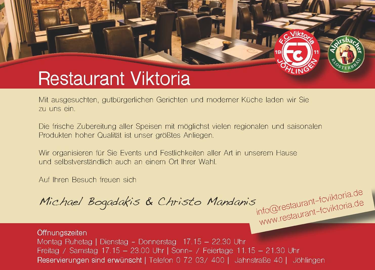 Restaurant Viktoria Anzeige 2015